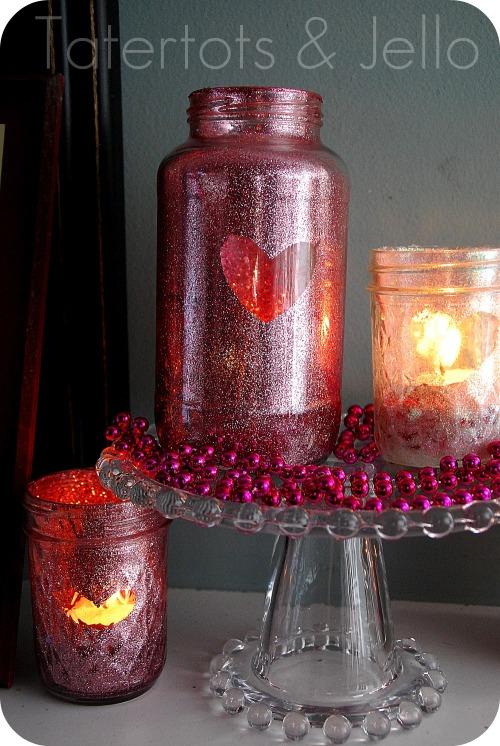 Source: http://tatertotsandjello.com/2012/01/valentine-glitter-mason-jar-tutorial.html
