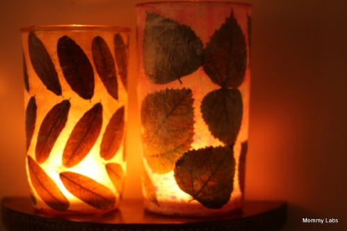 Source and tutorial: http://www.mommy-labs.com/creative-kids/art_craft_projects_kids/creating-my-me-time-leaf-decoupage-votive-candle-holder/